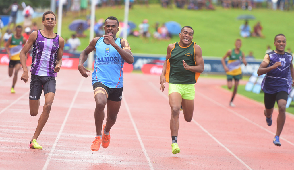 Pio Raua (third from left) of Namosi Secondary in full flight during 400meters inter boys final of Suva zone 1 at ANZ Stadium on March 29. 2019. Photo: Ronald Kumar.