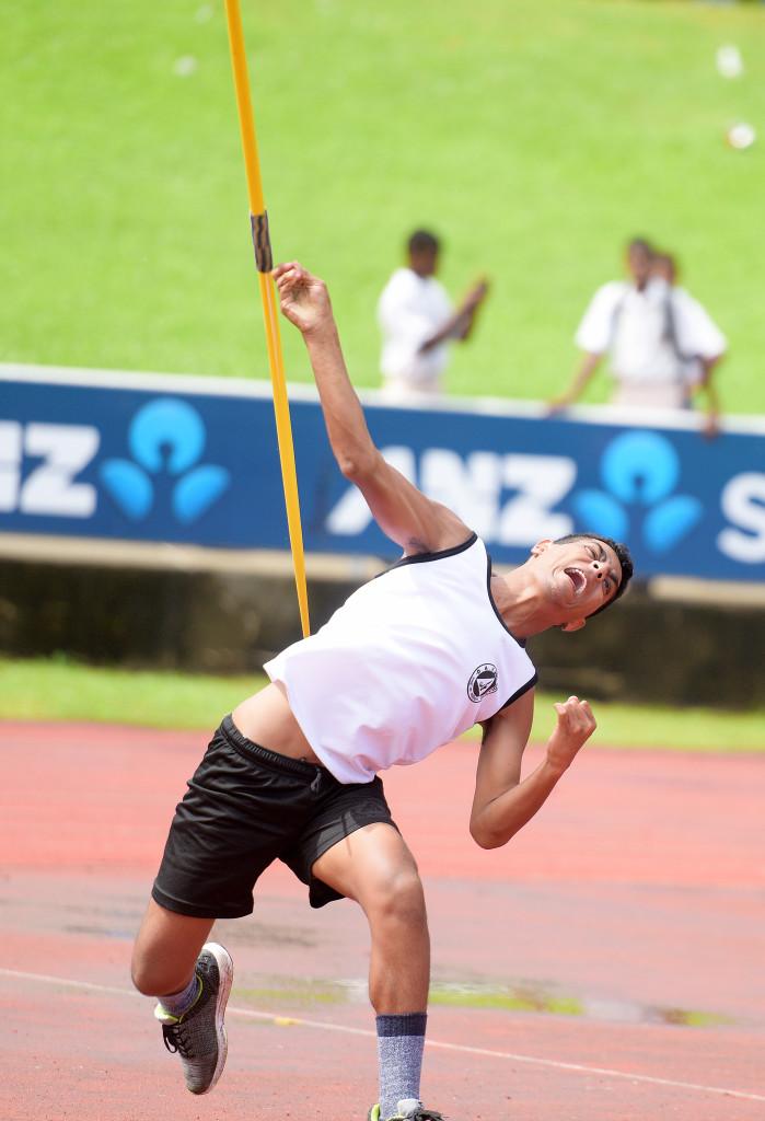 Tengata Betaia of DAV collage during junior boys javelin final of Suva zone 1 senior boys 400meters final at ANZ Stadium on March 29. 2019. Photo: Ronald Kumar.