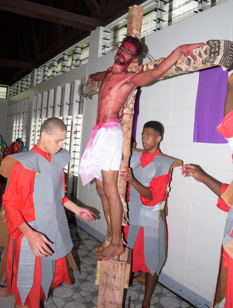 St. Pius X Parish Raiwaqa youths during Jesus crucifixion drama during Easter mass on April 19, 2019. Photo: Ronald Kumar.