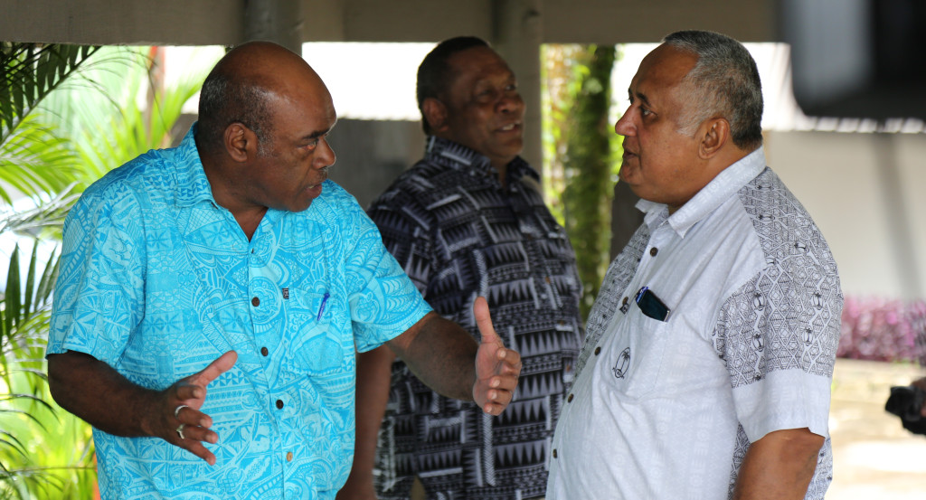 Northland Rugby Union official, SSP Livai Driu (left) discuss a issue with Fiji Rugby Union Chairman Francis Kean during FRU AGM at Novotel Hotel n April 27, 2019. Photo: Ronald Kumar.