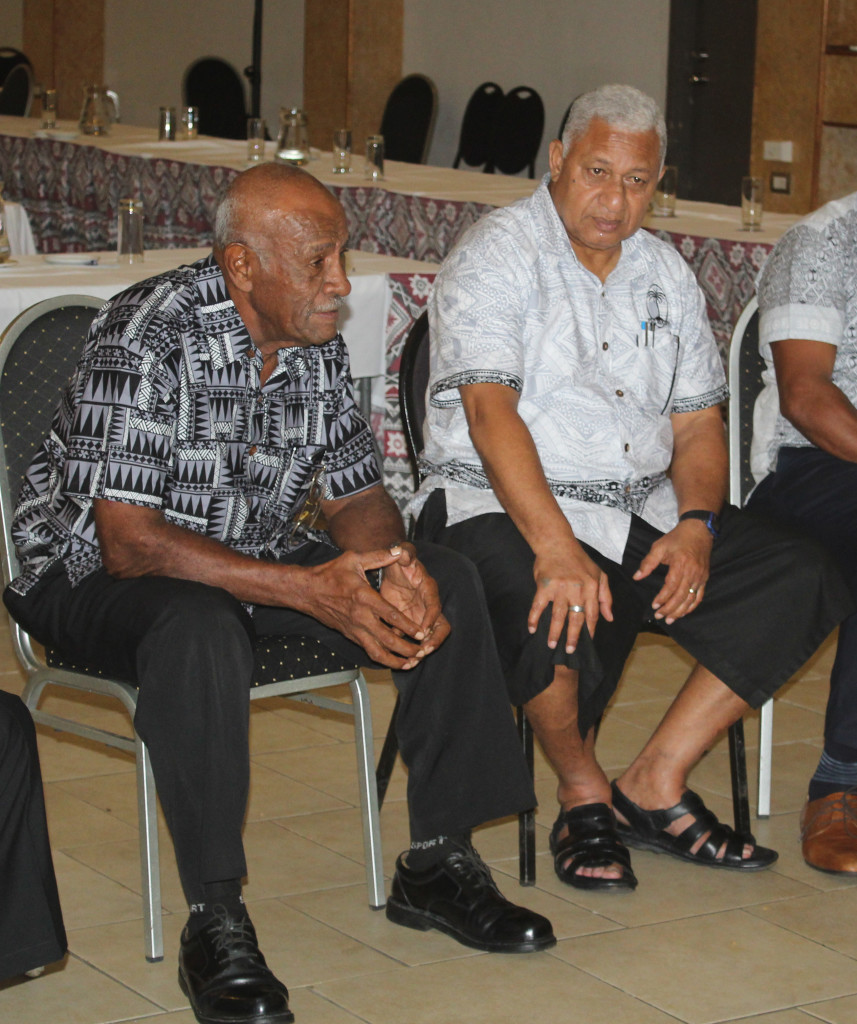 Prime Minister and Fiji Rugby Union President Voreqe Bainimarama (right) with Pio Bosco Tikoisuva following his appointment as FRU Life member during FRU AGM at Novotel Hotel n April 27, 2019. Photo: Ronald Kumar.