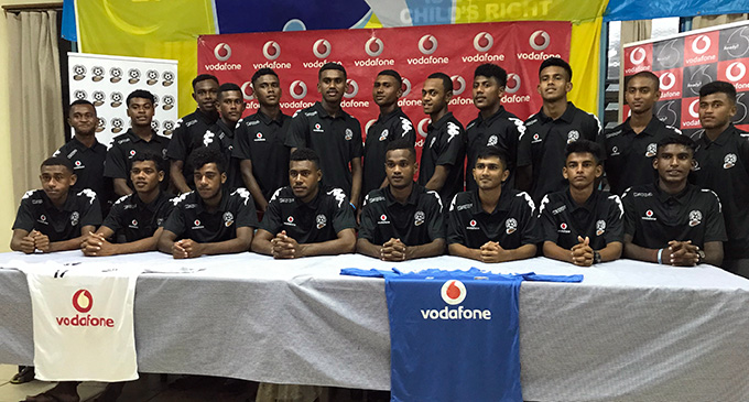 Vodafone Fijian Under-17 players after the official announcement of the team to tour Israel at the Fiji Football Association Academy in Ba on April 23, 2019. Photo: Avinesh Gopal