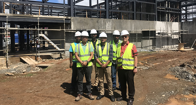 Front from left: Site engineer Ramil Bilan, project manager Mohammed Shafeel and project executive John Bent with workers at the Fiji Aviation Academy construction site at Namaka, Nadi on April 29, 2019. Photos: Nemani Delaibatiki