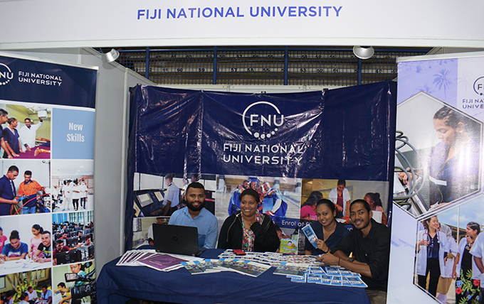 Fiji National University booth at National Job fair at FMF Gymnasium on April 24, 2019. Photo: Ronald Kumar.