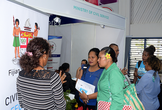 People find out about opportunities available at Ministry of Civil Service during National Job fair at FMF Gymnasium on April 24, 2019. Photo: Ronald Kumar.
