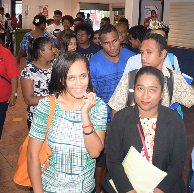 Youth wait in line to register at National Job fair at FMF Gym on April 24, 2019. Photo: Ronald Kumar.