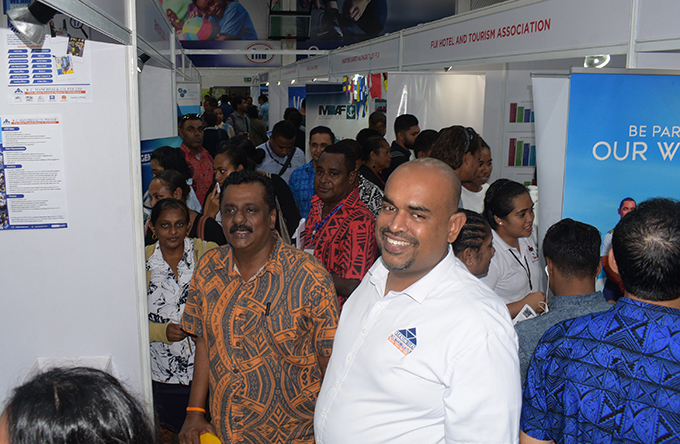 Minister for Employment, Youth and Sports Youths Praveen Bala and RC Manubhai COO Kanisha Samarawira during National Job fair at FMF Gymnasium on April 24, 2019. Photo: Ronald Kumar.