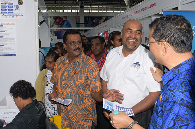 Minister for Employment, Youth and Sports Youths Praveen Bala (from left) and RC Manubhai COO, Kanisha Samarawira and Donglin Li, Director ILO Pacific during National Job fair at FMF Gymnasium on April 24, 2019. Photo: Ronald Kumar.