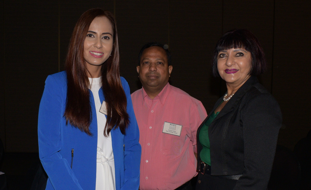 Kalpana Lal of Fiji Holoding Limited (from left) , Nouzab Fareed CEO Fiji Holoding Limited with Dr. Nur Bano Ali during (PCGI) Pacific Corporate Governance Institute summit at Grand Pacific Hotel on April 1, 2019. Photo: Ronald Kumar.