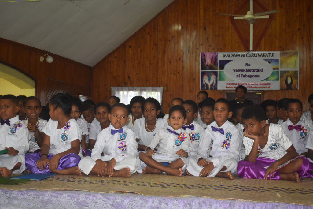 Anniversay Methodist Sunday School members celebrating Palm Sunday at Anniversary Church in Votualevu, Nadi on April 14, 2019. Photo: Mereleki Nai