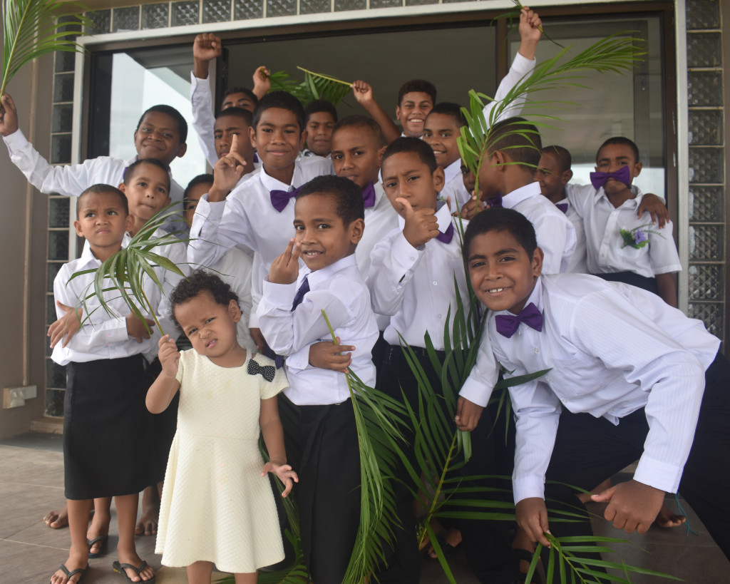 Gateway Harvest Church sunday school members celebrating Palm Sunday at CMF Church at Votualevu Roundabout in Nadi on April 14, 2019. Photo: Mereleki Nai