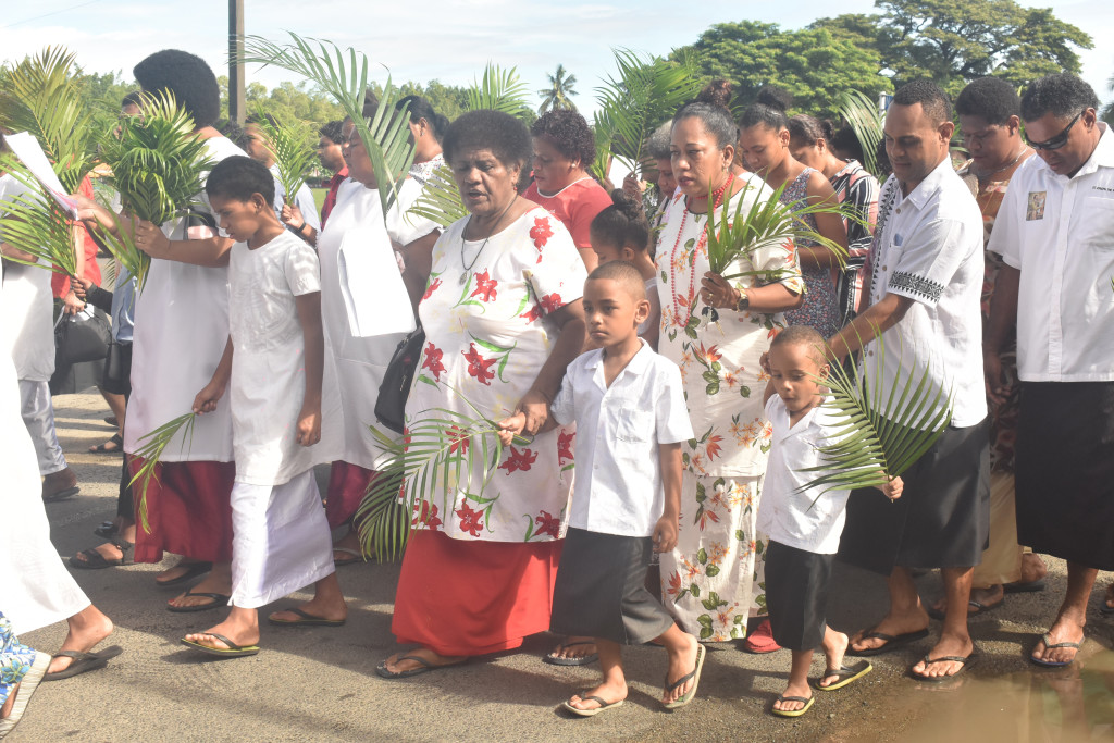 Saint Michaels Parish, in Nadi march during the Palm sunday at Nadi Town on April 14, 2019. Photo: Mereleki Nai