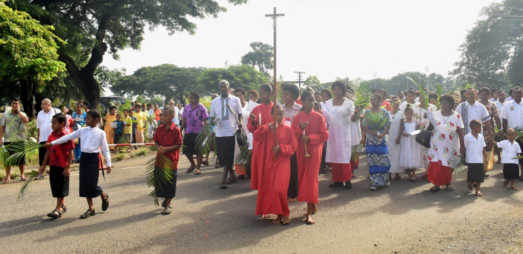 Saint Michaels Parish members march during the Palm sunday at Nadi Town on April 14, 2019. Photo: Mereleki Nai