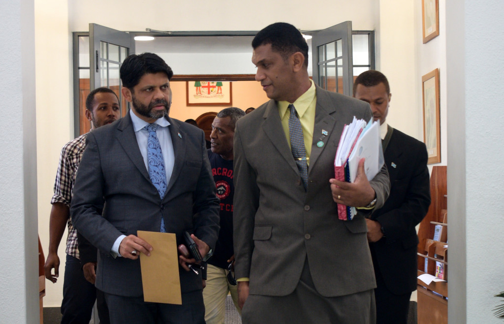 Attorney General and Minister for Economy Aiyaz Sayed-Khaiyum with Opposition Member of Parliament Aseri Radrodro outside Parliament on April 1, 2019. Photo: Ronald Kumar.