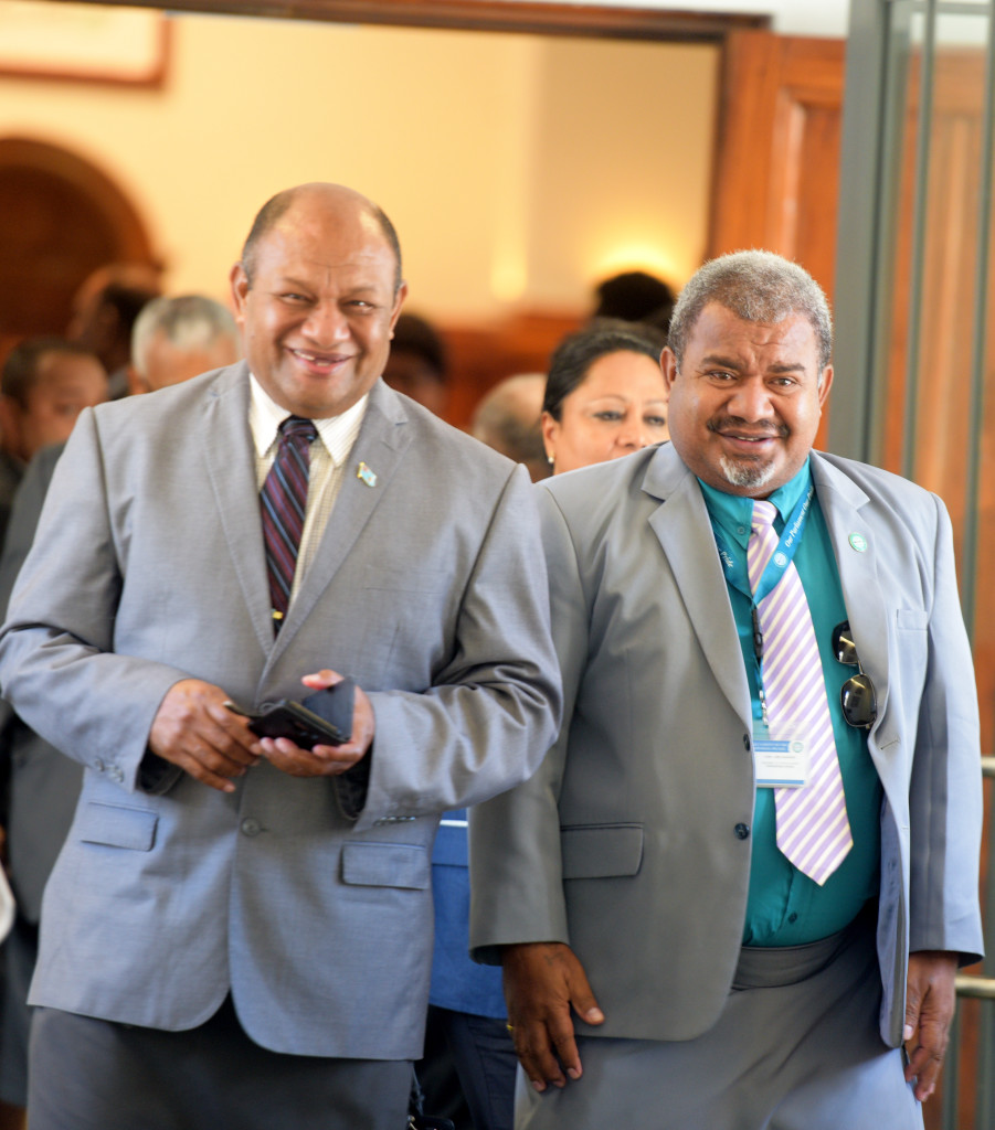 Minister for Forestry Osea Naiqamu (left) and Opposition Member of Parliament Jese Saukuru outside Parliament on April 1, 2019. Photo: Ronald Kumar.