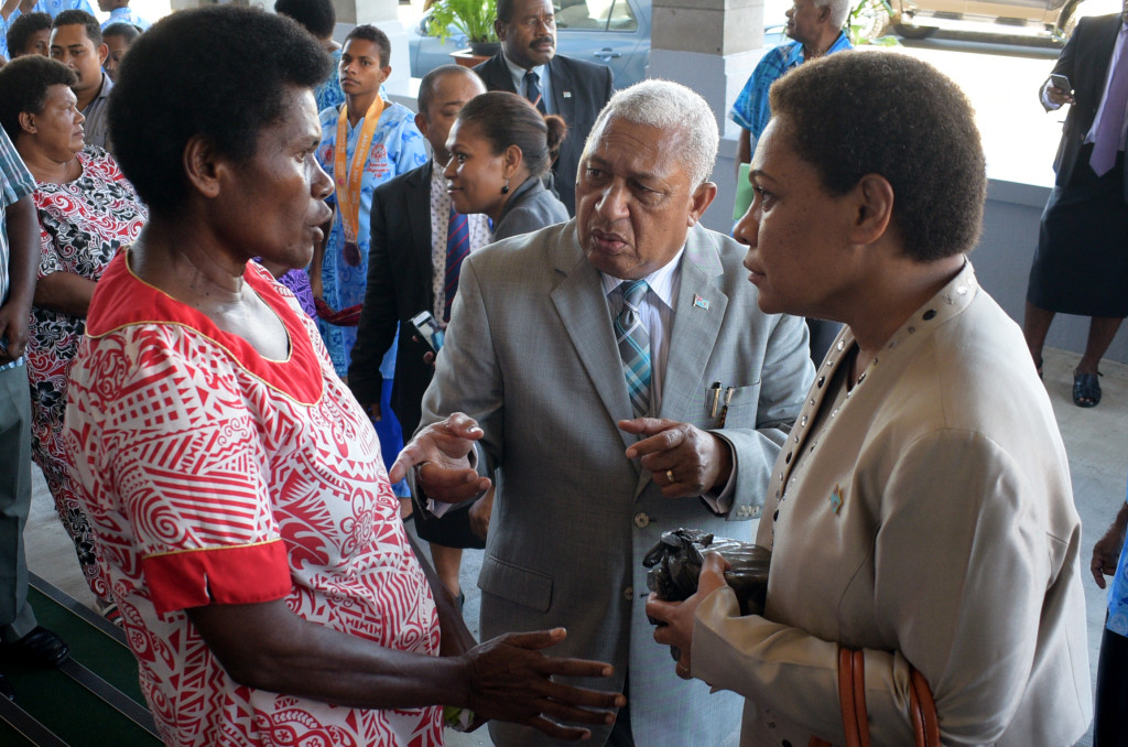 Avisaki Likubai (left) of Navuniasi Naitasiri (left) with Prime Minister Voreqe Bainimarama and Minister for Women and Social Welfare Meresaini Vuniwaqa outside Parliament on April 1, 2019. Photo: Ronald Kumar.