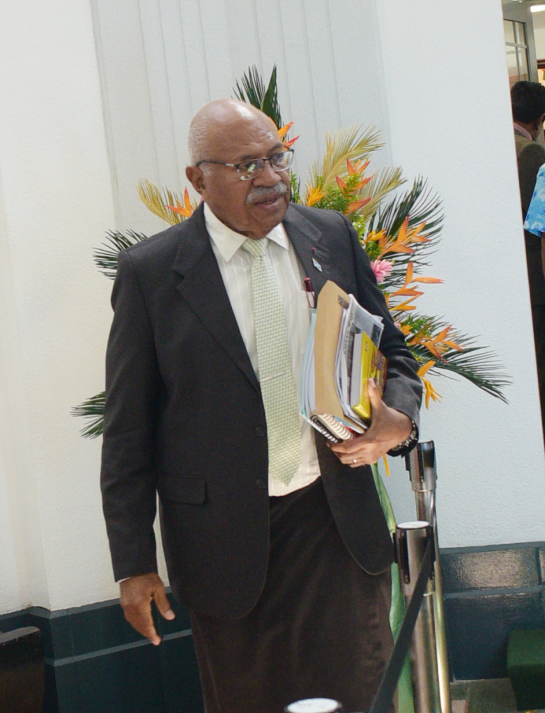 Opposition Leader in Parliament Sitiveni Rabuka outside Parliament on April 1, 2019. Photo: Ronald Kumar.