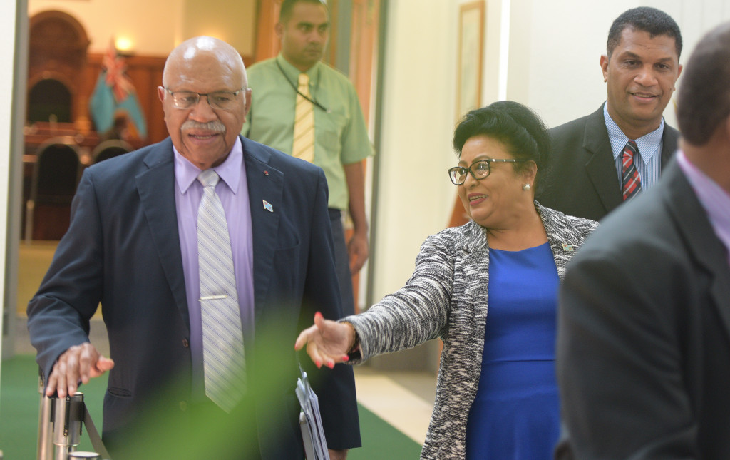 Opposition Leader of Parliament Sitiveni Rabuka with Assistant Minister for Women Veena Bhatnagar and Opposition Member of Parliament Aseri Radrudru outside Parliament on April 2, 2019. Photo:Ronald Kumar.