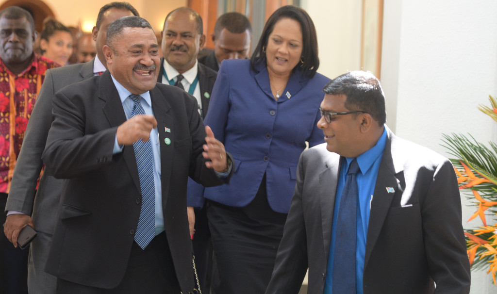 Opposition Member of Parliament Ratu Suliano Matanotobua (left) shares a joke with Mnister for Agriculture Mahendra Reddy outside Parliament on April 2, 2019. Photo:Ronald Kumar.