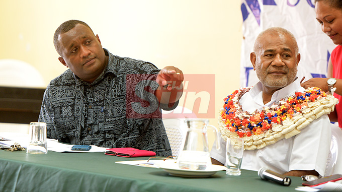 SODELPA Youth President, Jope Kuruisavou (left) and SODELPA Member of Parliament Simione Rasova during young SODELPA AGM in Suva on April 30, 2019. Photo: Ronald Kumar.