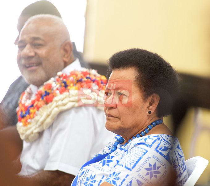 SODELPA Member of Parliament and Party General Secretary Adi Litia Qionibaravi (right) and with Simione Rasova during young SODELPA AGM in Suva on April 30, 2019. Photo: Ronald Kumar.