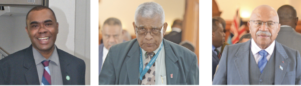 From left Member of Opposition Mosese Bulitavu, SODELPA President Ratu Naiqama Lalabalavu and Opposition Leader Sitiveni Rabuka.