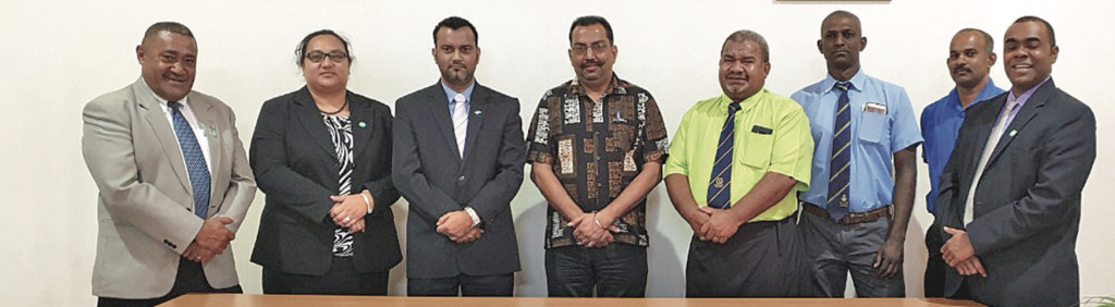 Chairperson of the Standing Committee for Justice, Law and Human Rights Alvick Maharaj (third from left), with committee members and representatives of religious organisations at Lautoka City Council Chambers on April 10, 2019. Photo: Rohit Kumar.