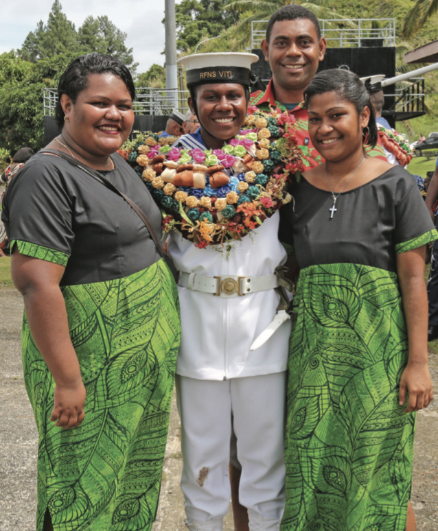 From left, Mere Gunuivei, Adi Naomi Bamako, Leba Kunakata and Etuate Vakarorogo (back) after the passing-out parade at Togalevu Naval base on April 17, 2019. Photo: Ilaijia Ravuwai