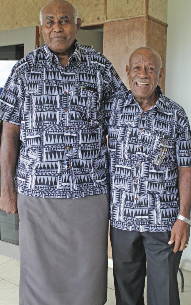 Rugby legends Ratu Ilaitia Tuisese (left) and Pio Bosco Tikoisuva at the Novotel Suva Lami Bay on April 27, 2019. Photo: Ronald Kumar