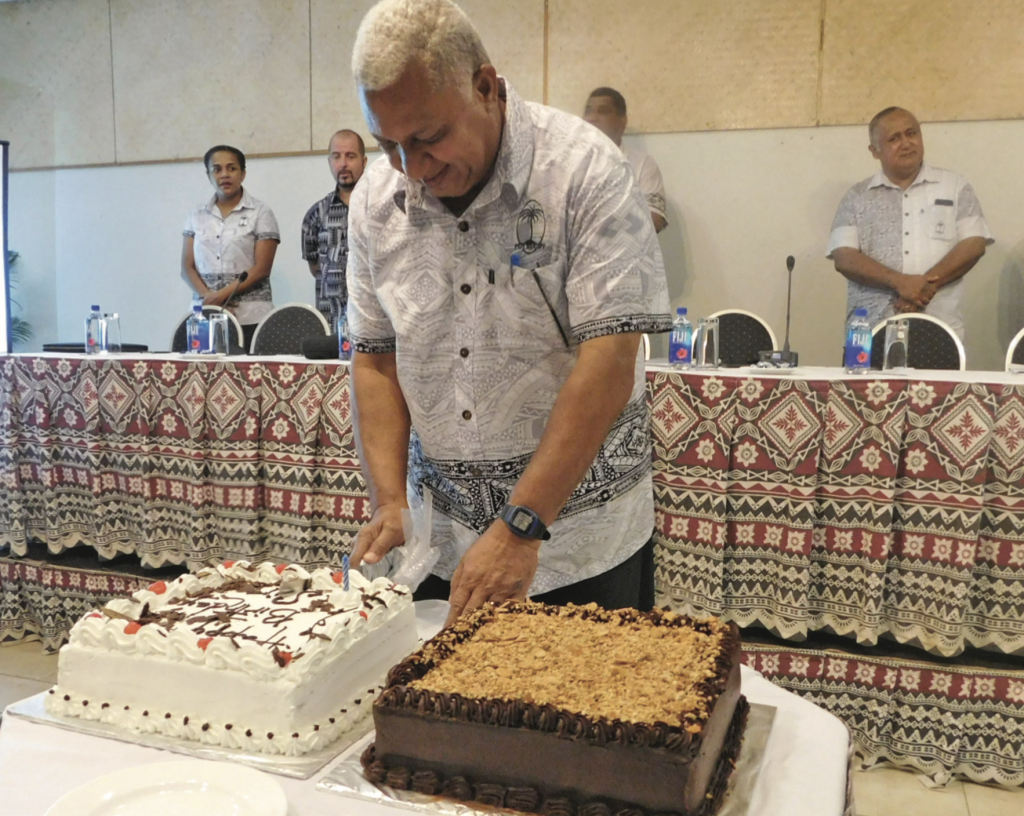 Prime Minister and Fiji Rugby Union president Voreqe Bainimarama cuts his birthday cake during the FRU annual general meeting at the Novotel Suva Lami Bay on April 27, 2019. Photo: FRU Media