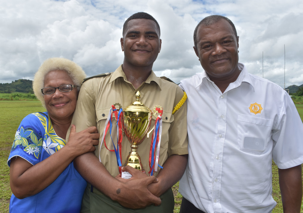 Best All Round Cadet to Ratu Kinijoji Tuiwainunu with his grandparents Marica Matava and Semisi Matava after the Army cadet pass out parade at All Saints Secondary School in Labasa on April 17, 2019.Photo: Shratika Naidu.