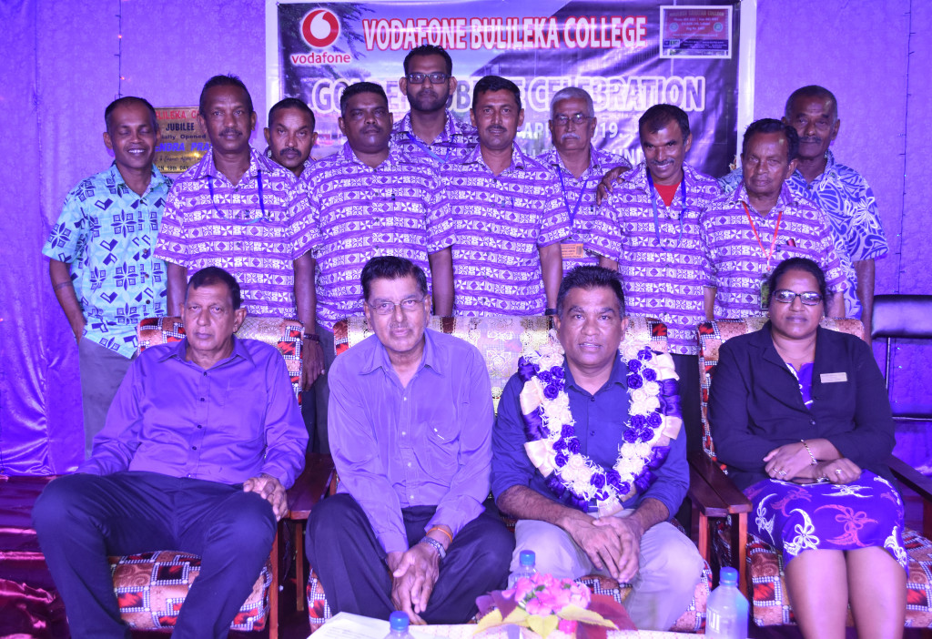 Vodafone Fiji Limited Head of eCommerce and Corporate Affairs Shailendra Prasad (second from the right-sitting) chief guest during the Bulileka Sanatan College golden jubilee celebration accompanied by teachers anad management in Labasa on April 18, 2019.  Photo:Shratika Naidu