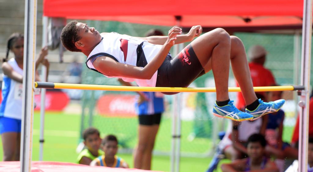 Teresia Naketeca odf Adi Cakobau School during Juinor girls high jump final during Coca-Games at ANZ Stadium on Ap[roil 16, 2019. Photo: Ronald Kumar.