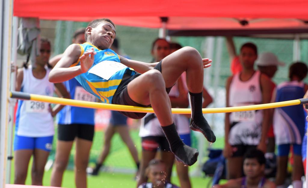 Susana Lewara of Dawasamu High School during Coca-Games junior girls high jump final at ANZ Stadium on Ap[roil 16, 2019. Photo: Ronald Kumar.
