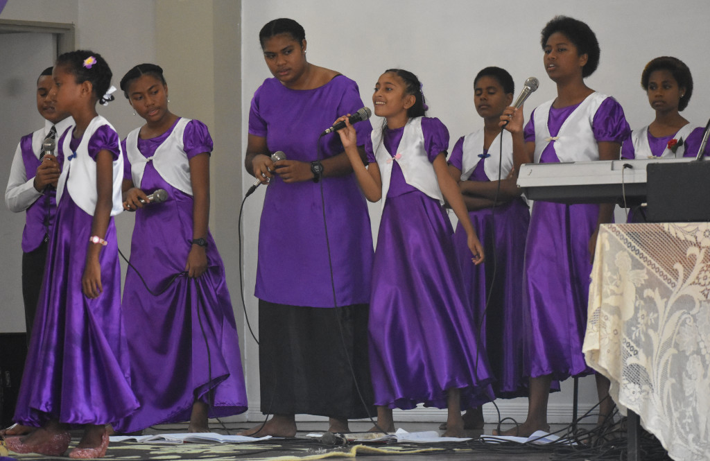 Children of All Nation Christian Fellowship Church sang special gospel songs to celebrate Palm Sunday at Kshatriya Hall in Labasa on April 14, 2019. Photo:Shratika Naidu