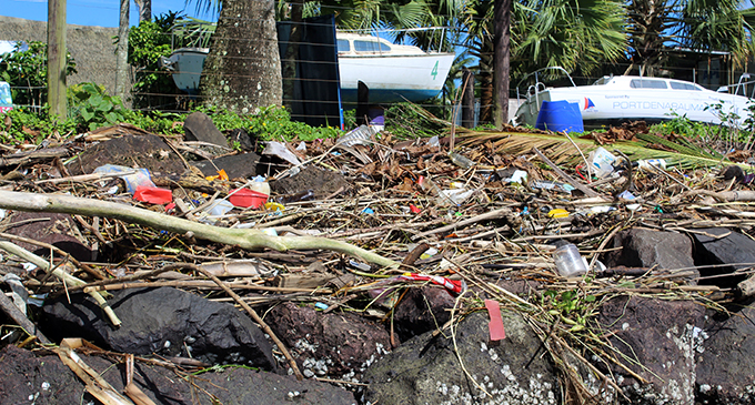 Rubbish that was swept in by the current during the rainy weather pilled up at the sea walls at Suva point on April 29,2019.Photo:Simione Haravanua.