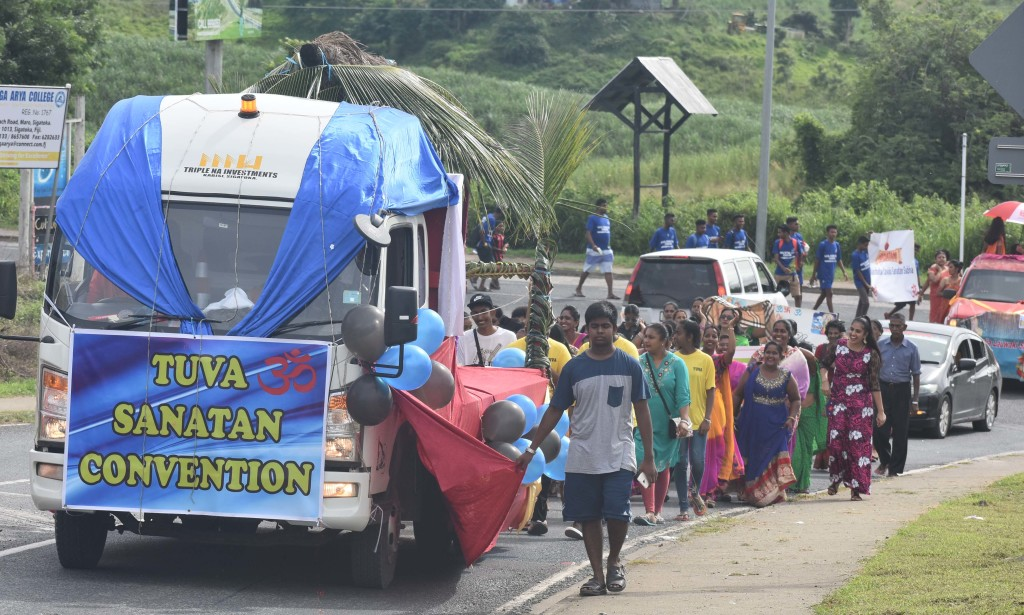 Float procession at the opening of the 60th Sanatan Annual Convention at Tuva Primary School, Nadroga yesterday. Photo:WAISEA NASOKIA