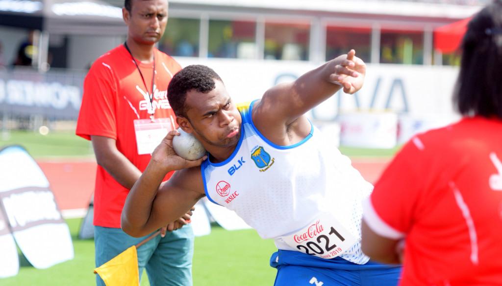 Tiko Batibasdaga of Natabua Secondary during Coca-Games shot put Senior boys finalat ANZ Stadium on Ap[roil 16, 2019. Photo: Ronald Kumar.
