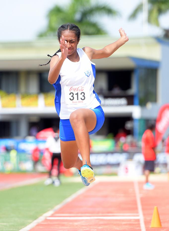 Estelle Kainamoli of St Josephs Secondary School during Coca-Games intermediate girls triple jump final at ANZ Stadium on Ap[roil 16, 2019. Photo: Ronald Kumar.