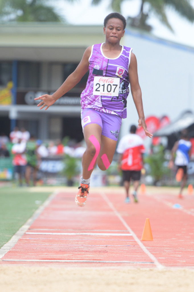 Sainimere Torosi of Sigatoka Methodist during girls triple jump final of Coca-Cola games at ANZ Stadium on April 17, 2019. Photo: Ronald Kumar.