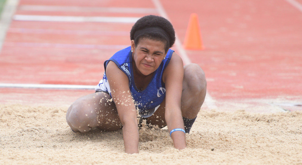 Anisa Roger of Khalsa College during girls triple jump final of Coca-Cola games at ANZ Stadium on April 17, 2019. Photo: Ronald Kumar.