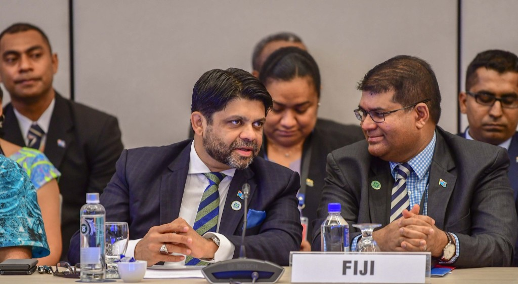 Attorney-General Aiyaz Sayed-Khaiyum having a light moment with the Governor of Reserve Bank of Fiji Ariff Ali.