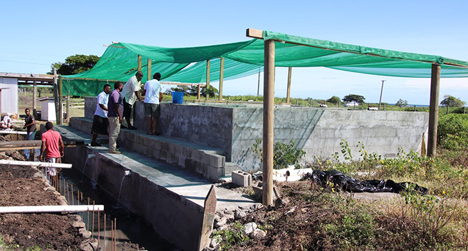 Minister for Fisheries Semi Koroilavesau making observations at the Caboni Multi-Species Hatchery Station in Ra.  Photo: Ministry of Fisheries