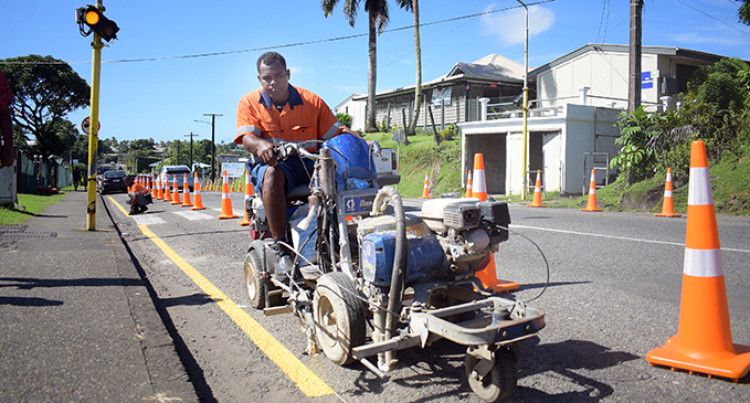 Fiji Roads Authority Applies 'No Parking' Line At Brown Street
