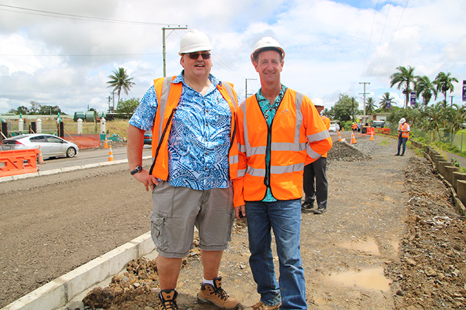 Fiji Roads Authority chief executive officer Jonathan Moore with FRA Works Superintendent Lee Doherty at the site visit this morning