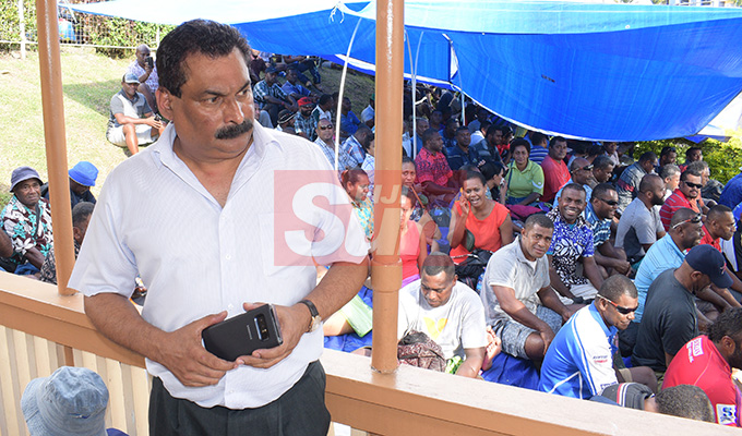 Fiji Trade Union Congress general secretary Flex Anthony with contracted workers, who had their employment finished as of 30th April with Water Authority of Fiji at FTUC office in Suva on May 1, 2019. Photo: Ronald Kumar.