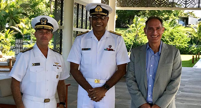 From left: Commander of the United States Pacific Fleet based in Hawaii Admiral John Aquilino, Republic of Fiji Military Forces Commander Rear Admiral Viliame Naupoto and US Charge d'Affaires Michael Goldman in Fiji after their meeting at the Marriot Momi Bay Resort on May 2, 2019. Photo: Mereleki Nai