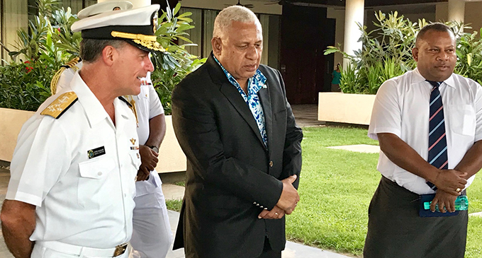 From left: Commander of the United States Pacific Fleet based in Hawaii Admiral John Aquilino with Prime Minister Voreqe Bainimarama and Minister for  Defence, National Security and Foreign Affairs Inia Seruiratu. Photo: Mereleki Nai