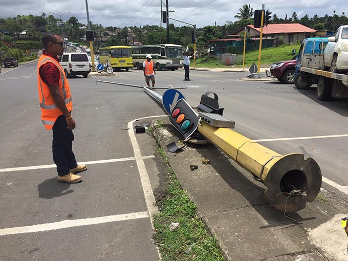 Result of an accident at Kinoya Intersection.