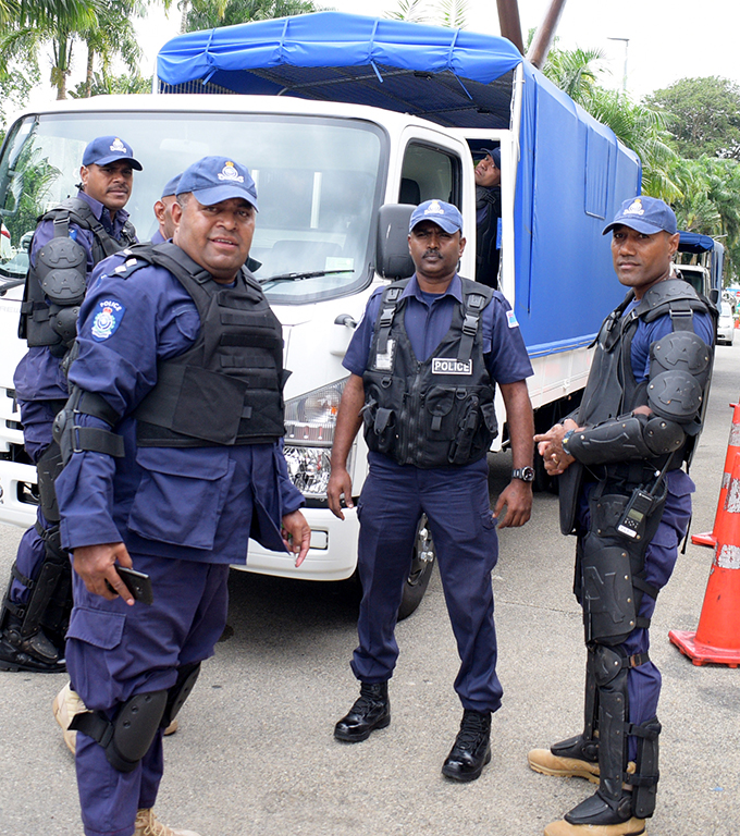 Some of the Police officers from the Police convoy at Albert Park on May 3, 2019. Photo: Ronald Kumar